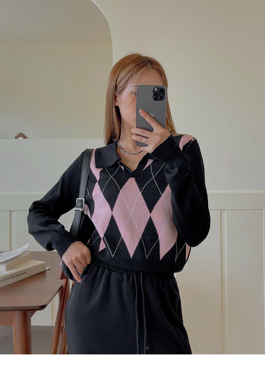 Swall Argyle Long Sleeve Collar Knitwear