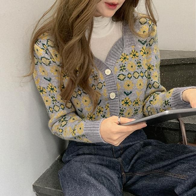 花朵花紋短版針織外套