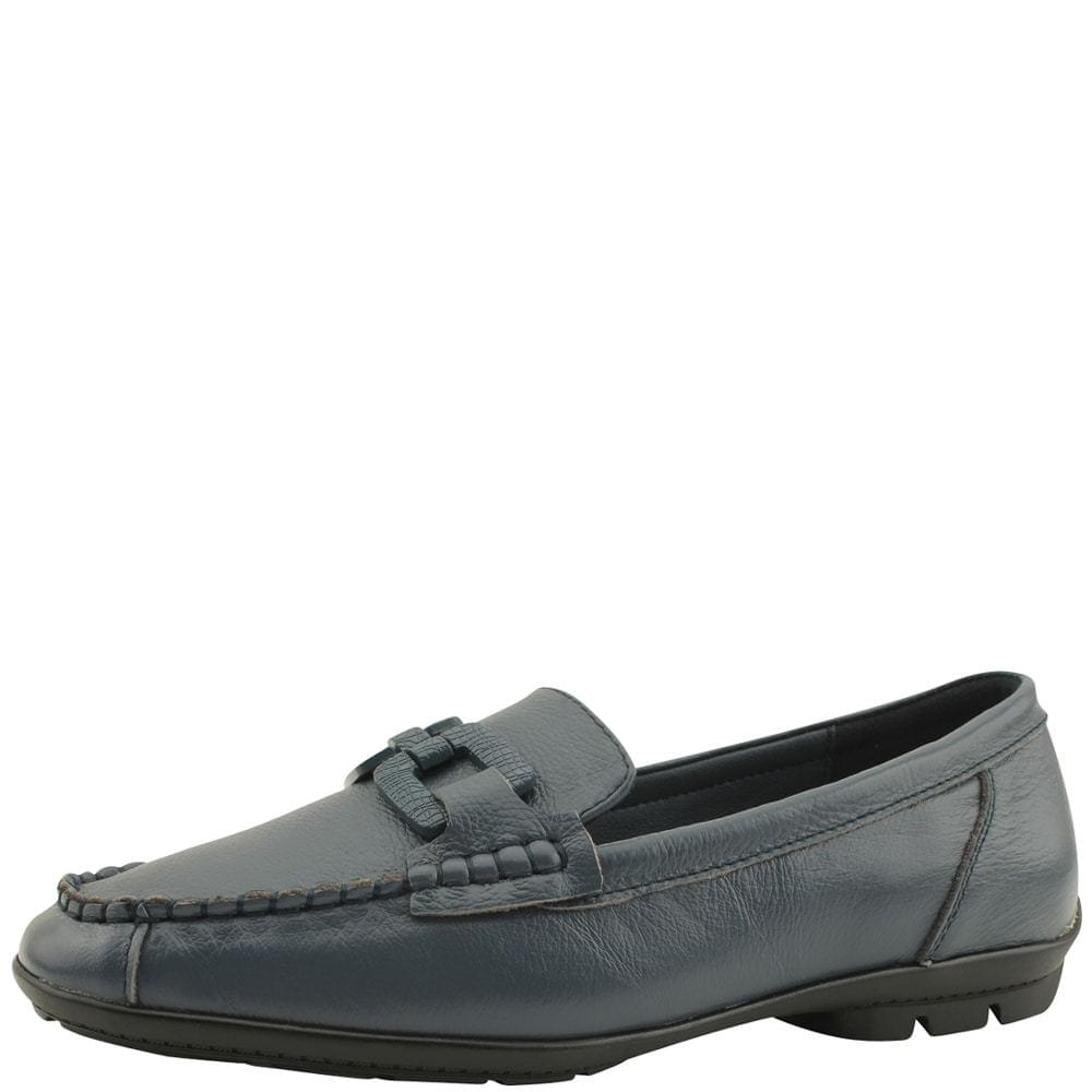 Cowhide Chain Chain Comfort Loafers Navy