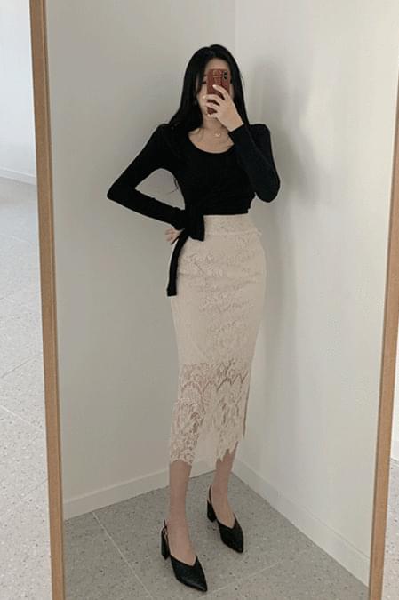 British lace long skirt