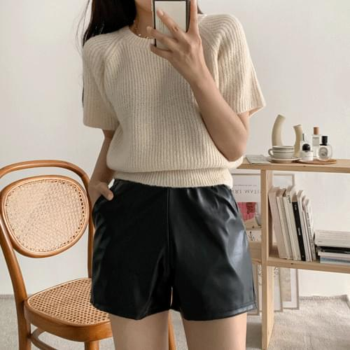 leather banding shorts