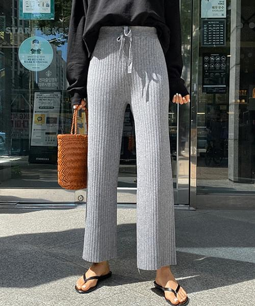 Rongdi Ribbed Wide Pants Knitwear
