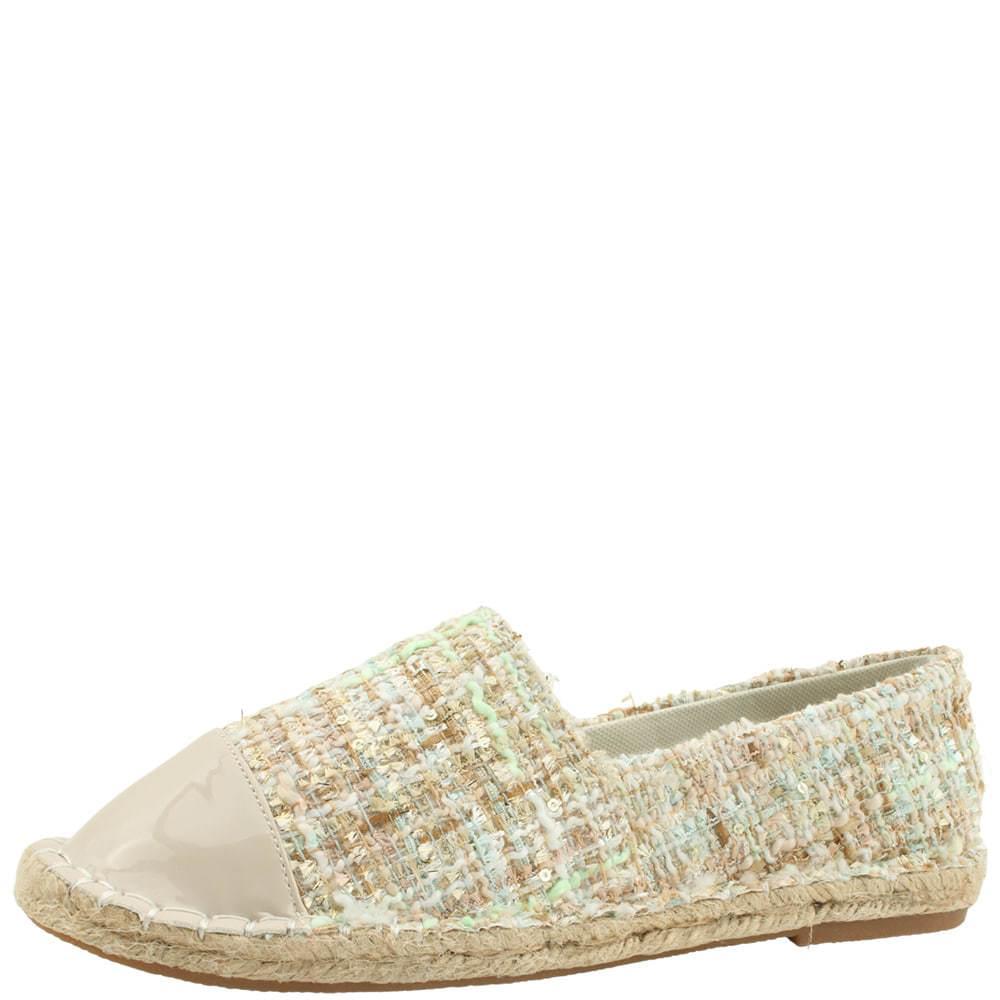 Wool Check Espardue Slip-On Beige