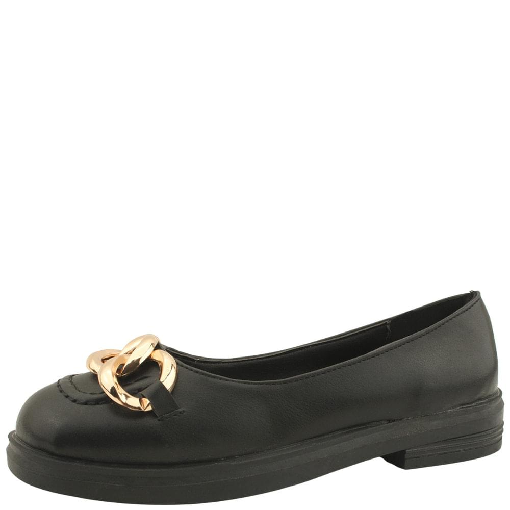 Gold Chain Chain Loafers Flats Black