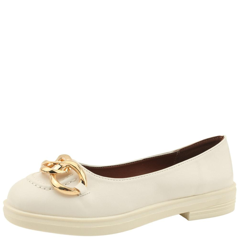 Gold Chain Chain Loafers Flats Beige