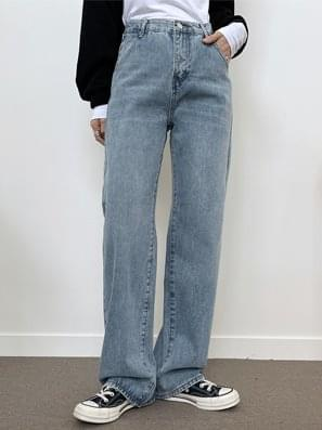 Damage Faded Wide Denim Pants