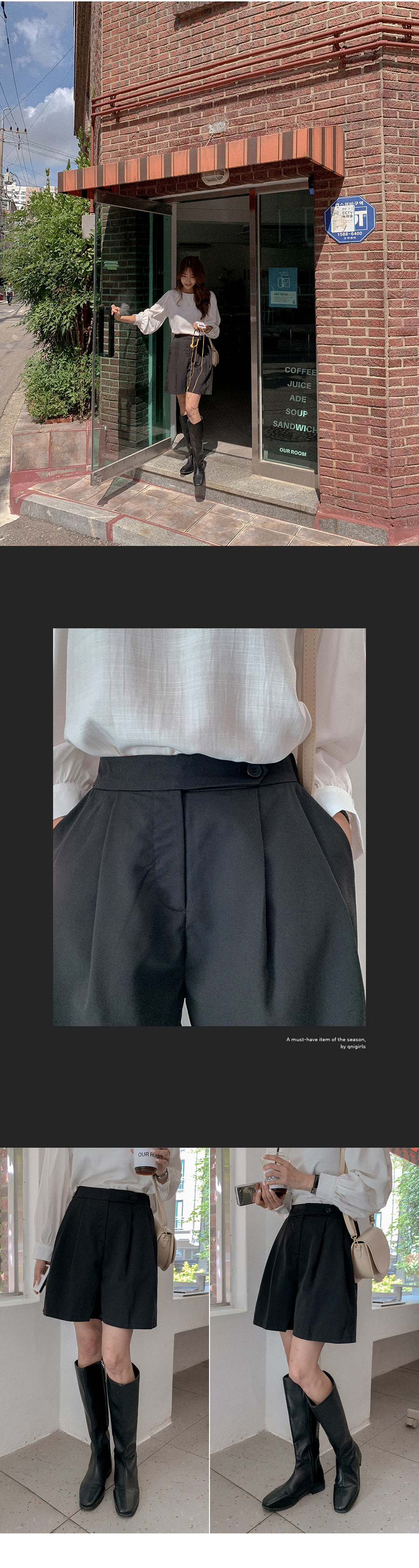 Morevijo Two Pin Tuck Half Pants