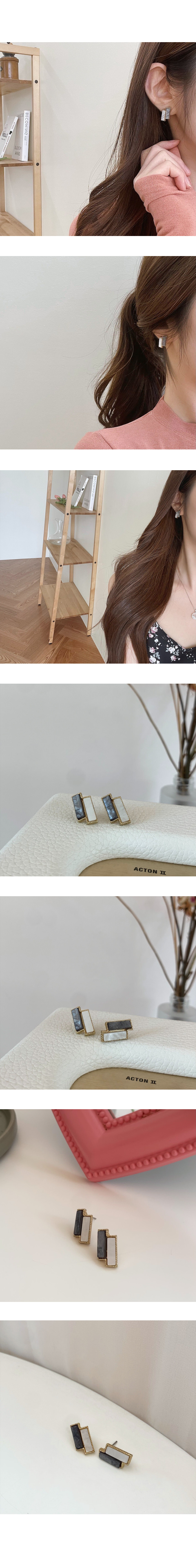 Marble Square Twin Earrings A#YW045