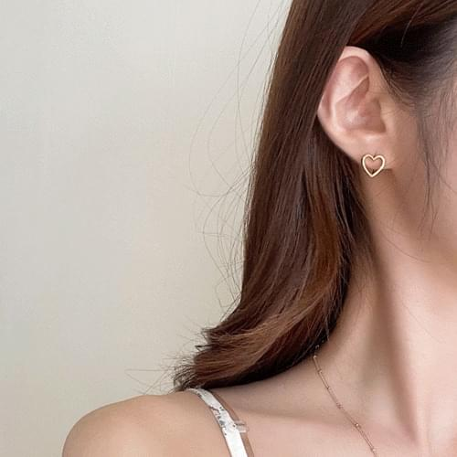 One-touch heart earrings 2color A#YW043
