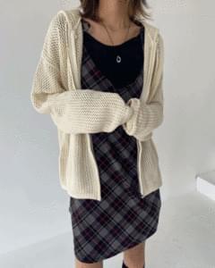 Net Knitwear Hoodie Zip Up