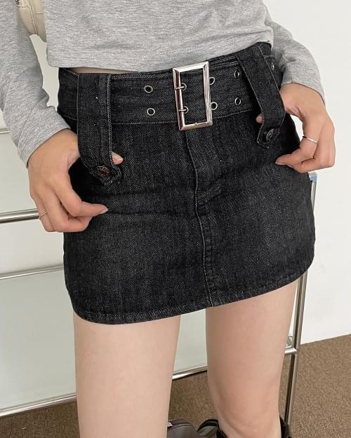 Haku Denim Belt Teen Pelvic Skirt