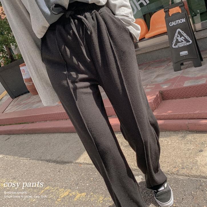 Vertical Pintuck Wide Ribbed Pants