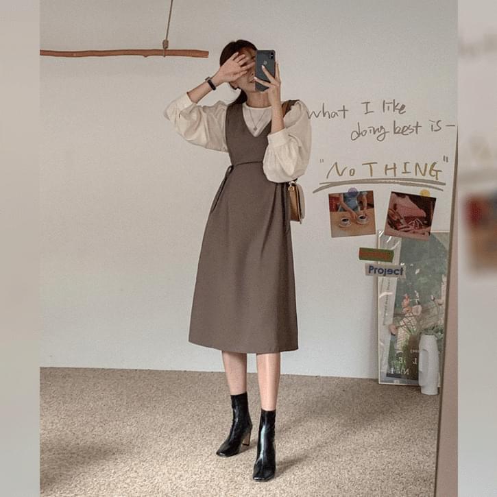 Shirring Bla Ribbon Long Dress Set