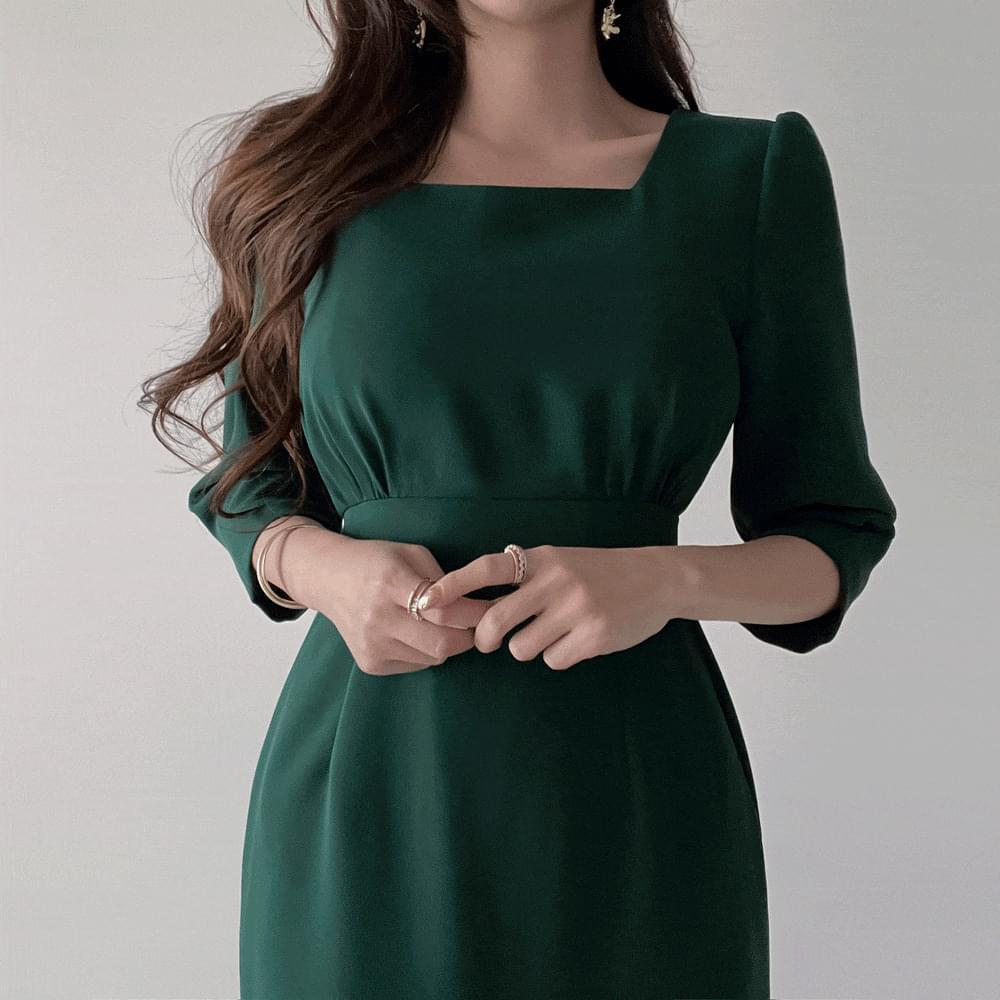 Gorgeous deep green 7 parts pin tuck shirring square neck guest Dress 2color