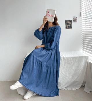 Denim Cancan Long Dress #38081