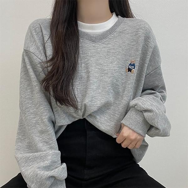 USA bare embroidery, V - V-Neck overfit Sweatshirt