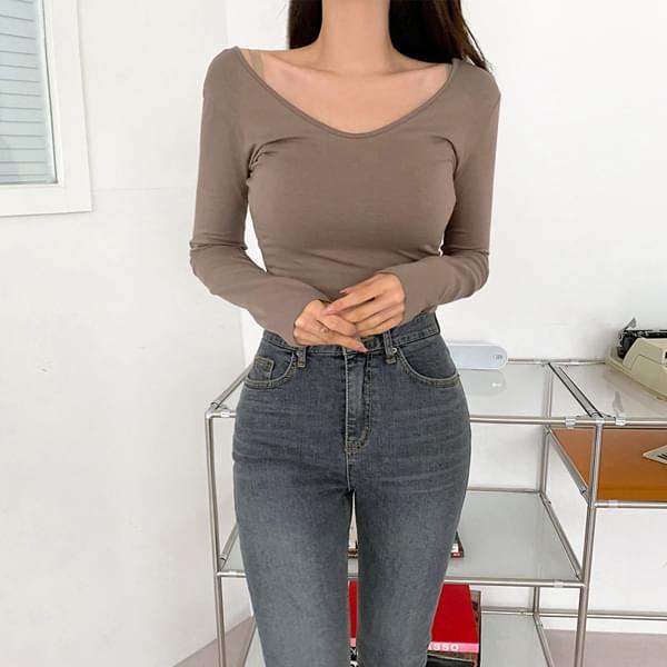 Gram V-Neck tight-fitting cropped long-sleeved T-shirt