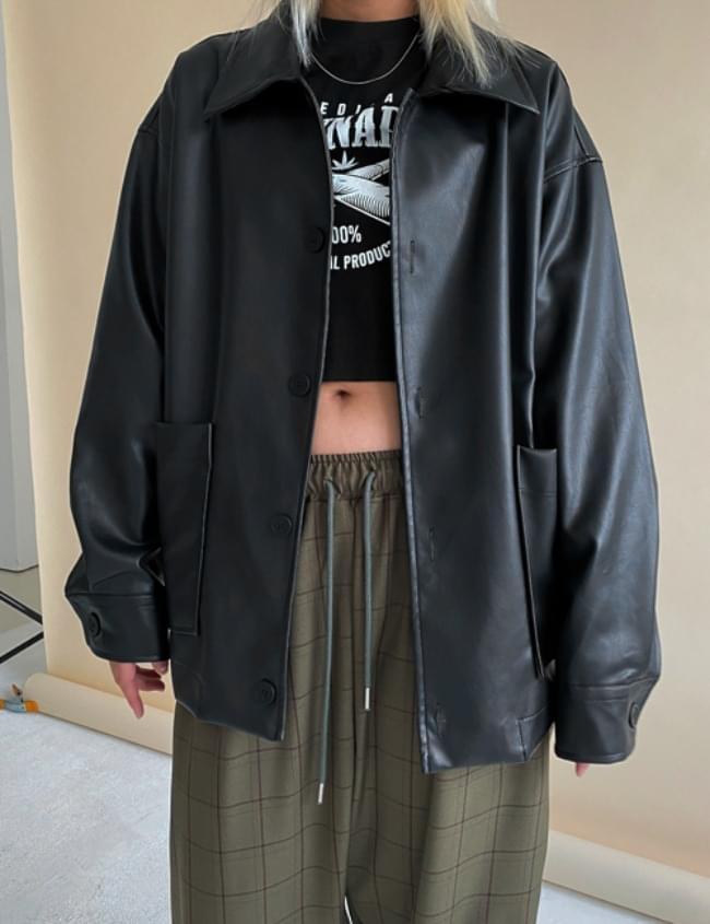 run-on leather jacket