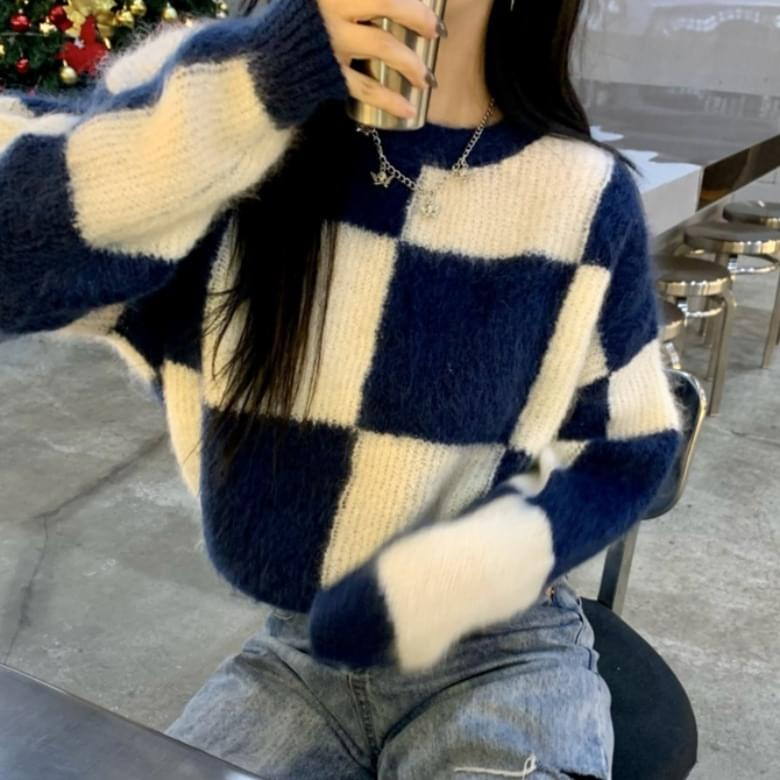 Chess Crew Neck Loose Check Knitwear