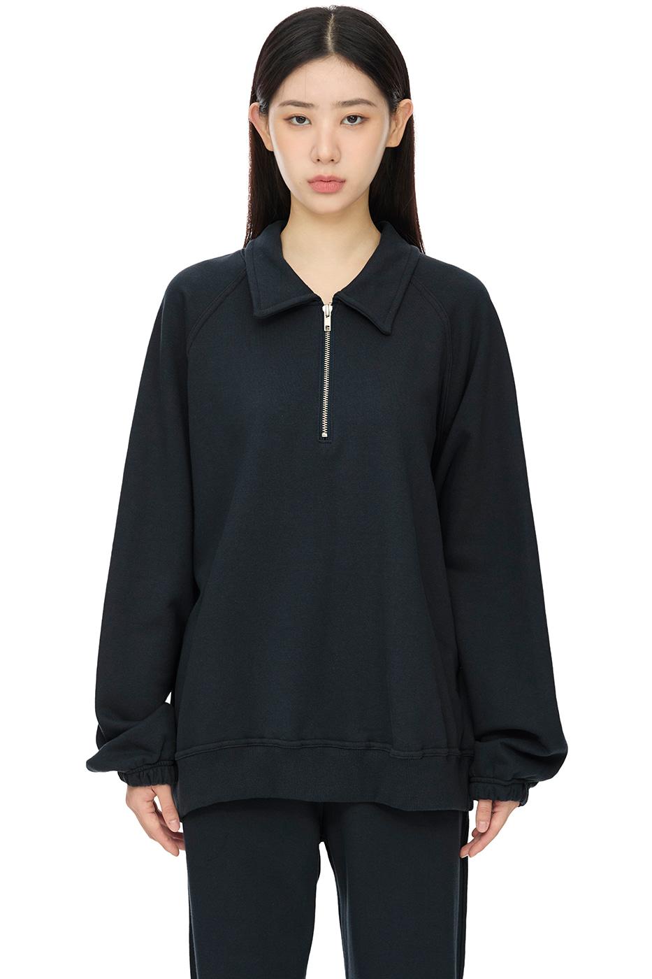 lazy half zip-up sweatshirt