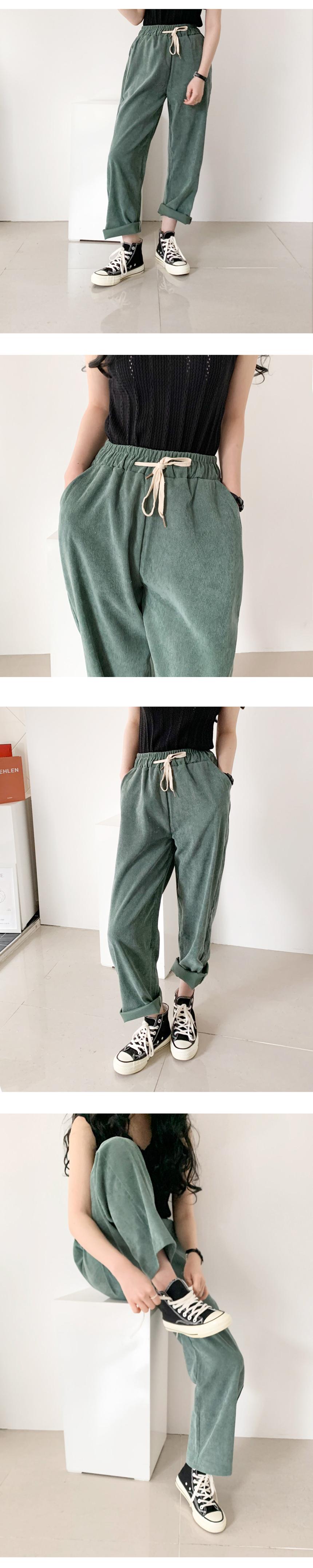 Blending Corduroy Date Banding Pants Golden