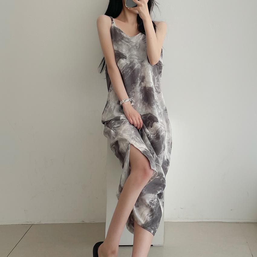 Marble Water Printing Long Sleeveless Dress