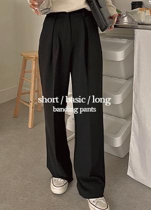 Wizden Pintuck Wide Spandex Banding Slacks Pants