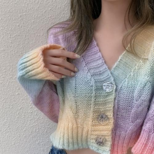 Teen Sweat Print Crop Twisted Angora Knitwear Cardigan