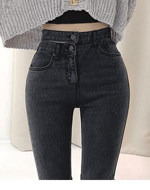 Big sister two-button belt skinny pants