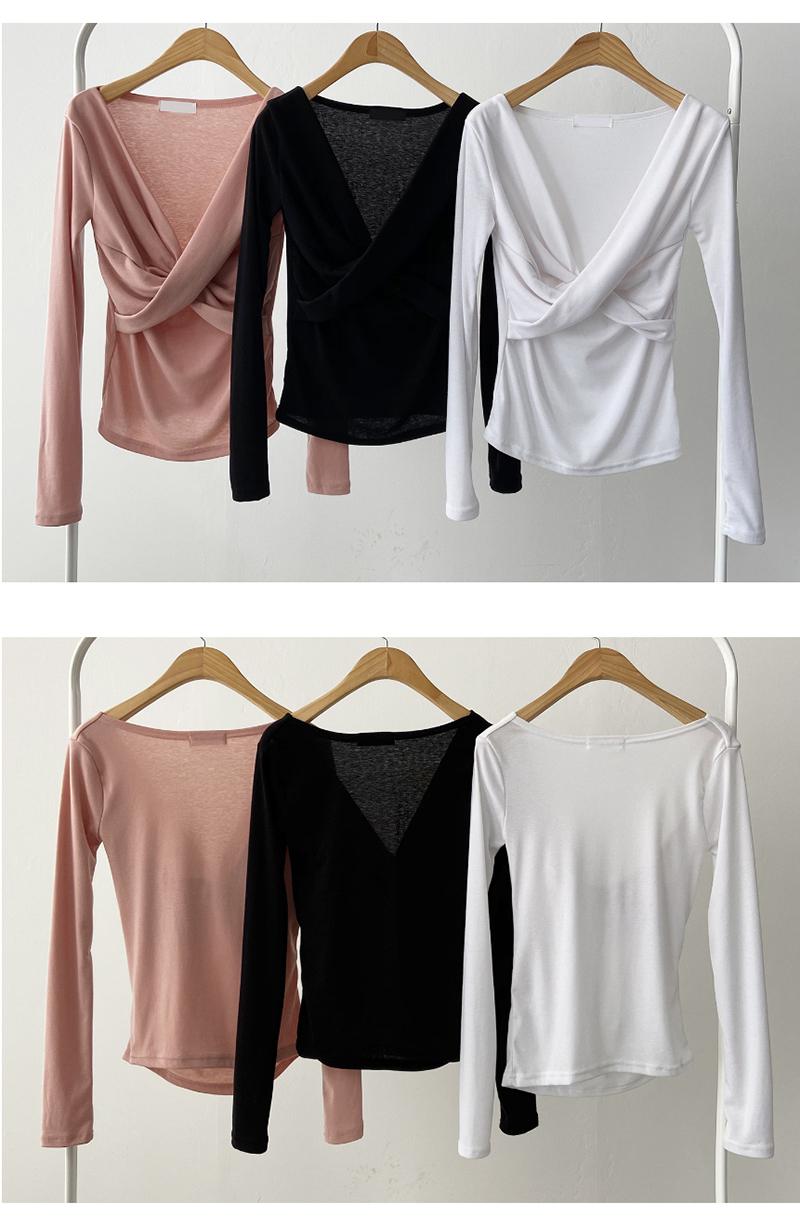 Off Shoulder Bagel Twist Wrap V-Neck Cross T-shirt 4color