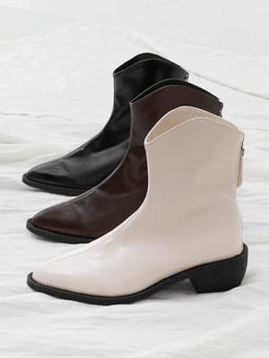 Pointed Nose Western Line Low Heel Ankle Boots 11086