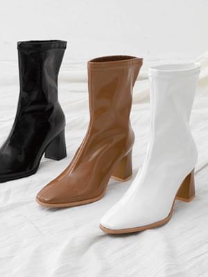 Western Line Enamel Block Heel High Heel Ankle Boots 11081