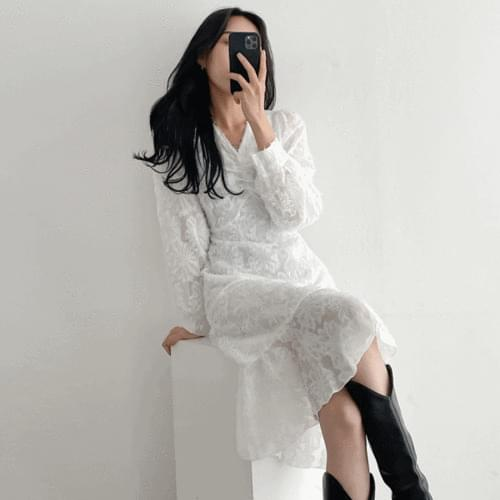 Feather surgery V-Neck shirring puff long sleeve Dress 2color