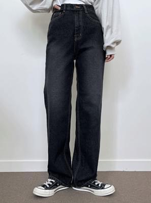 Vintage Faded Black Denim Denim Wide Pants