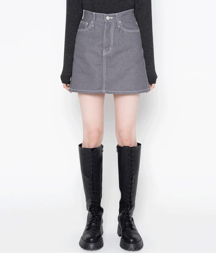 ESSAYContrast Stitch A-Line Mini Skirt