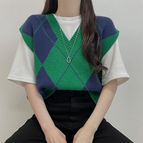 Tony, Argyle Overfit V-Neck Knitwear Best Vest 針織外套