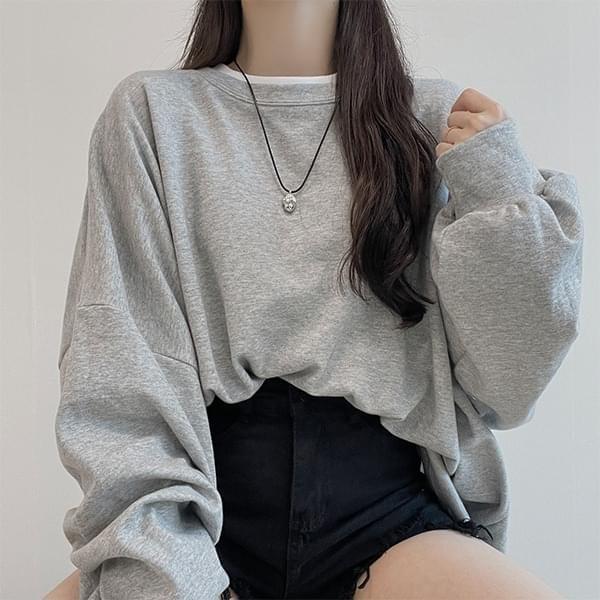 Over-over, 12-color over - fit round plain plain Sweatshirt
