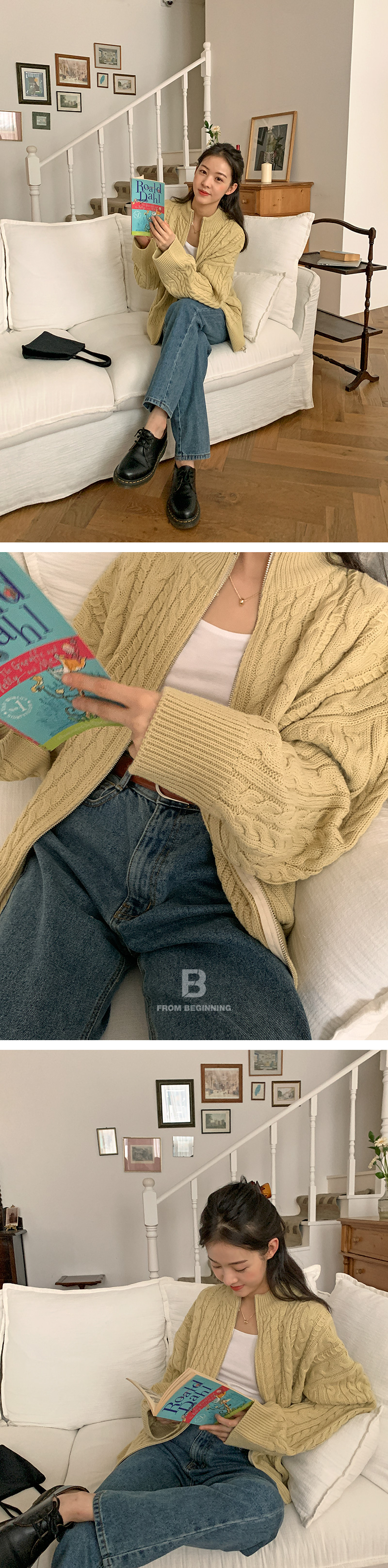 Cable Overzip Knitwear Cardigan