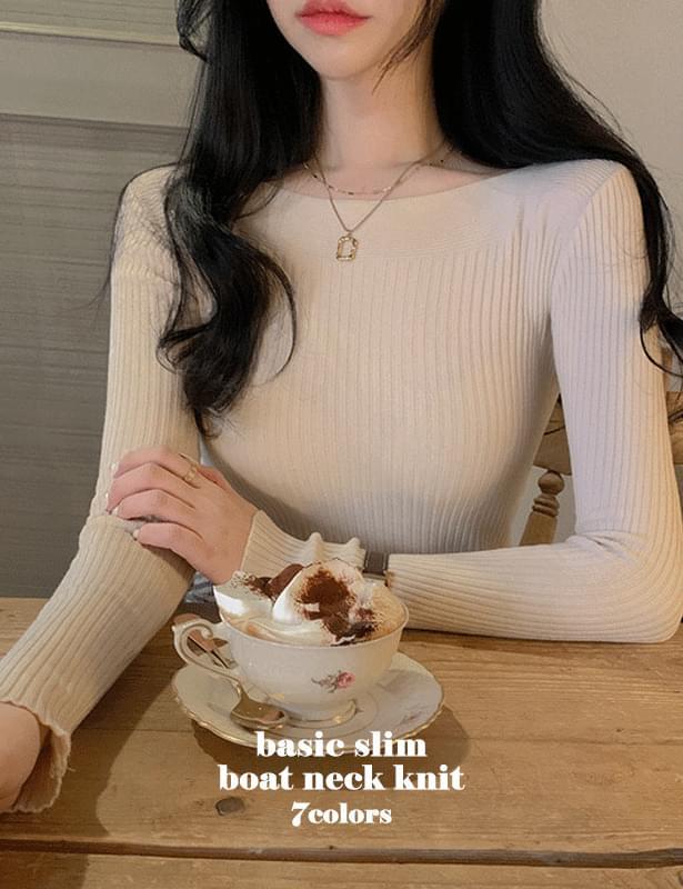 Basic slim lip neck knit cumulative