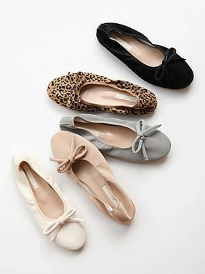 Plump Ribbon Flat Shoes 1cm