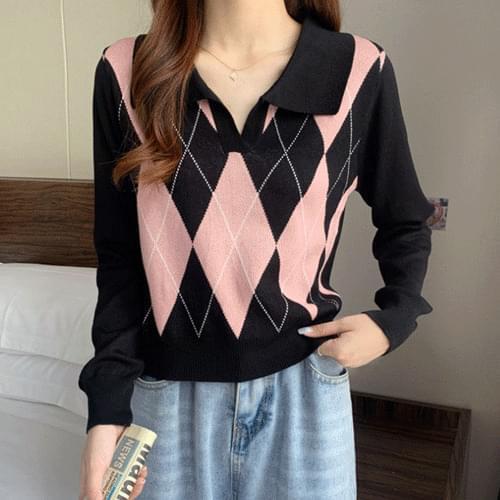 Argyle Open Collar Crop Long Sleeve Knitwear T#YW823