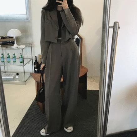 Crop Jacket + Pintuck Pants Set
