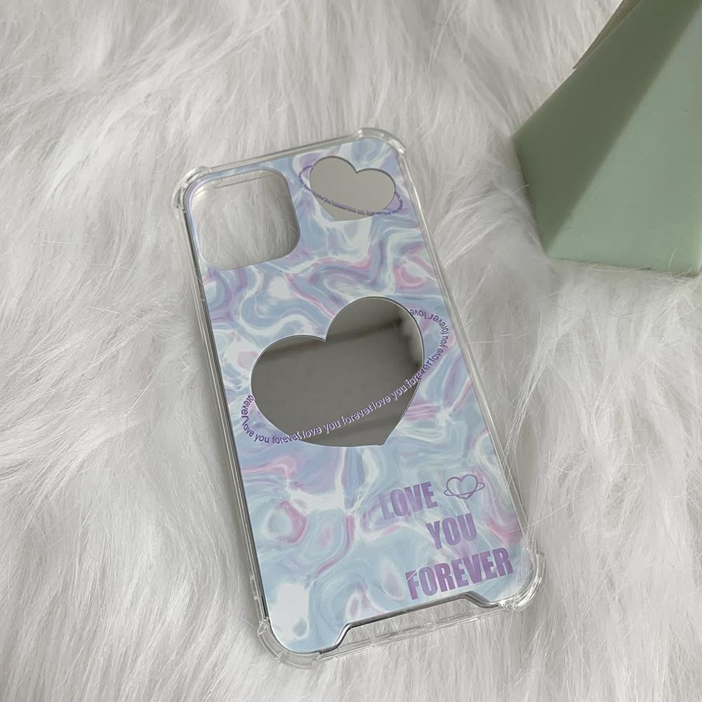 Purple Marble Space Heart Mirror iPhone Case
