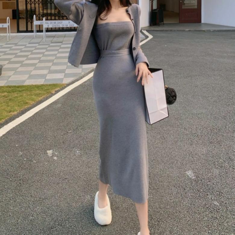 Shrin Knitwear Dress Cardigan Two Piece