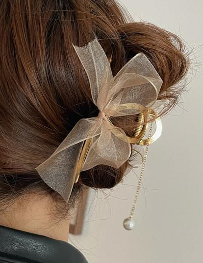 pearl drop ribbon hair tongs
