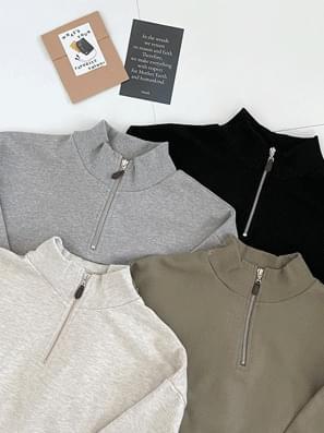 Leather Zipper Anorak Sweatshirt