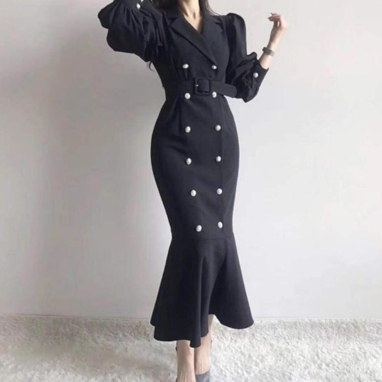 Meryan puff double belt Dress