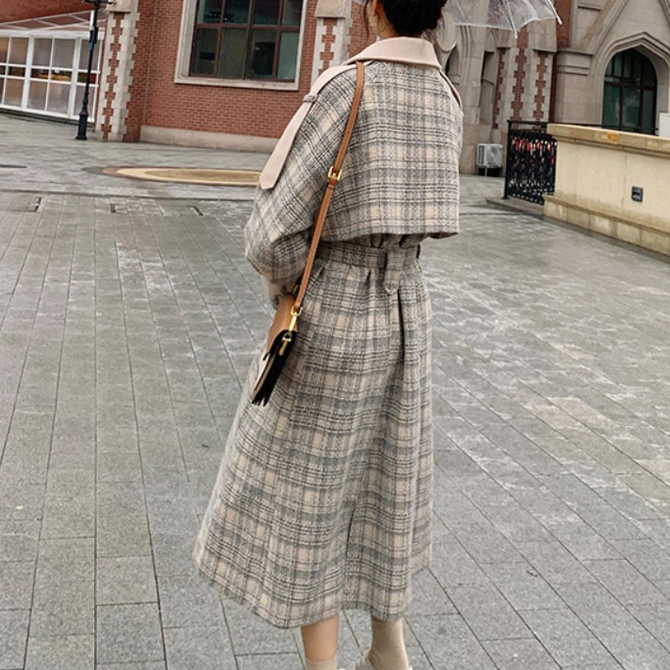 Leno high-up checked wool coat