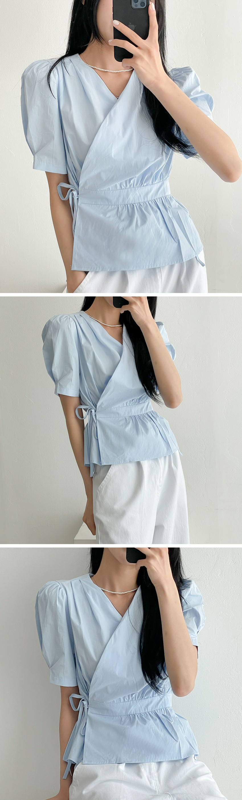 puff wrap pastel shirring Loose-fit short sleeve blouse