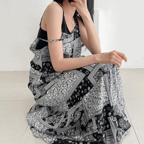 Paisley Bandana Flare Sleeveless Long Dress 2color